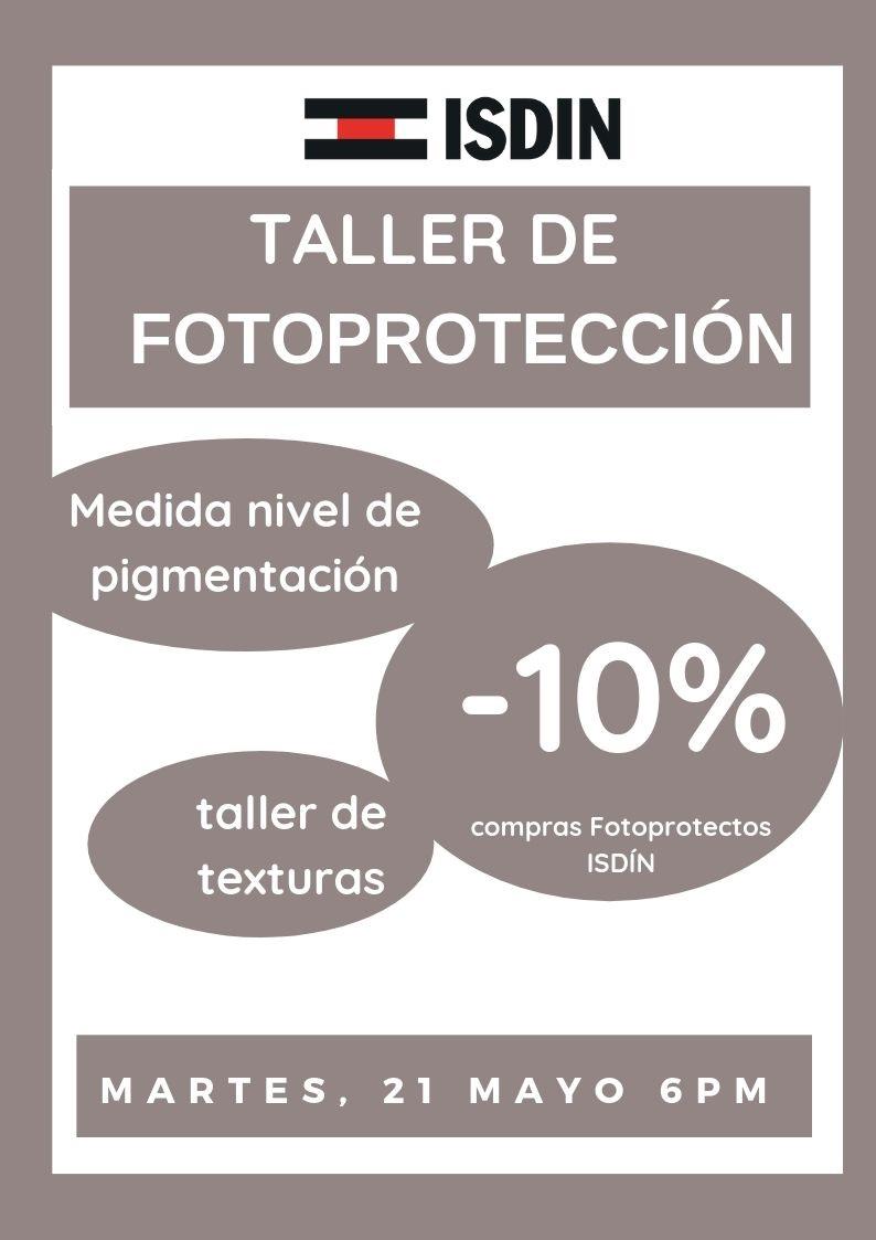 taller FOTOPROTECCIÓN- 10% descuento en ISDÍN SOLARES