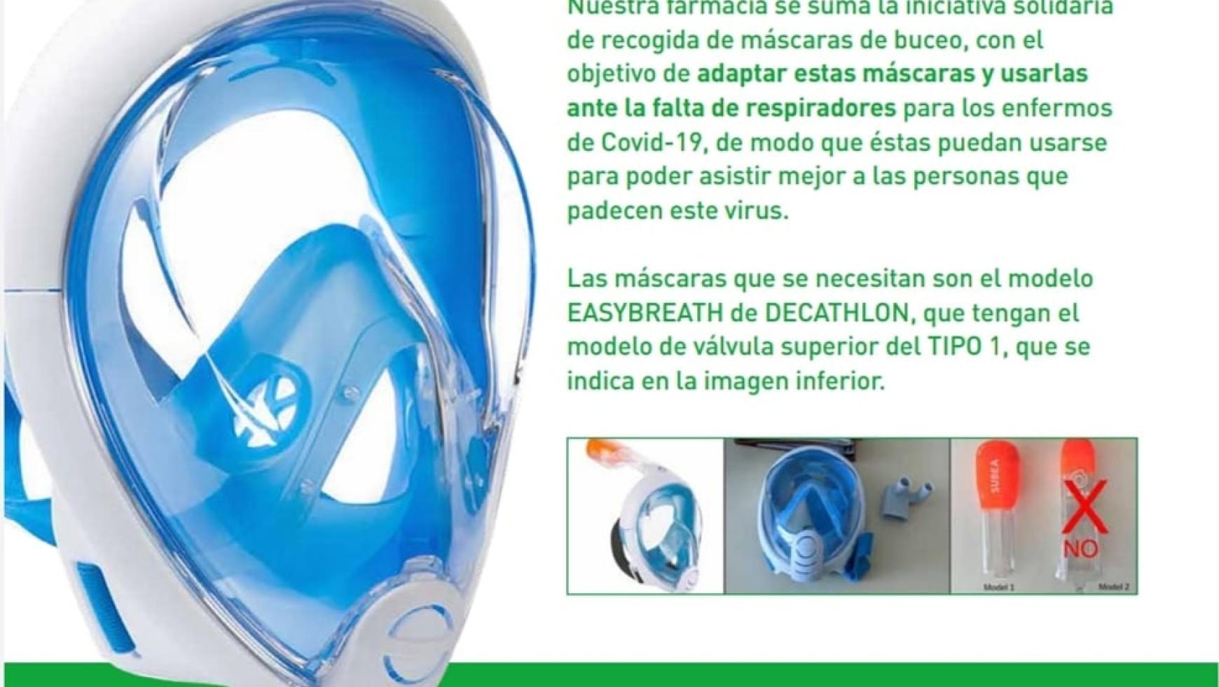 Donación mascaras de buceo
